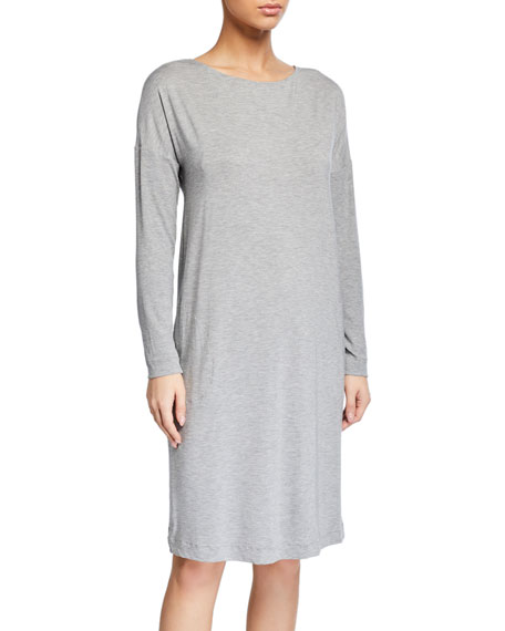 Hanro Natural Elegance Long-Sleeve Nightgown with Pockets