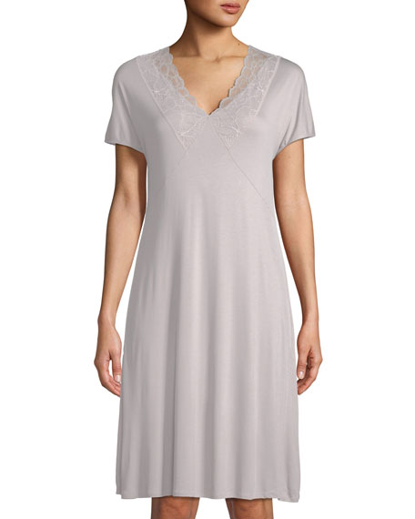 Hanro Rose Short-Sleeve Lace-Trim Nightgown