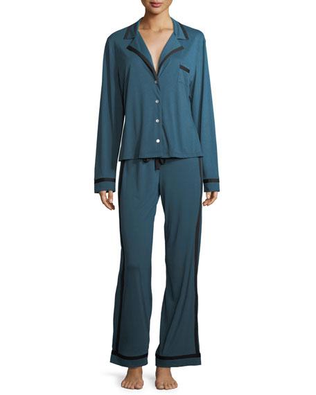 Bella Contrast-Trim Pajama Set