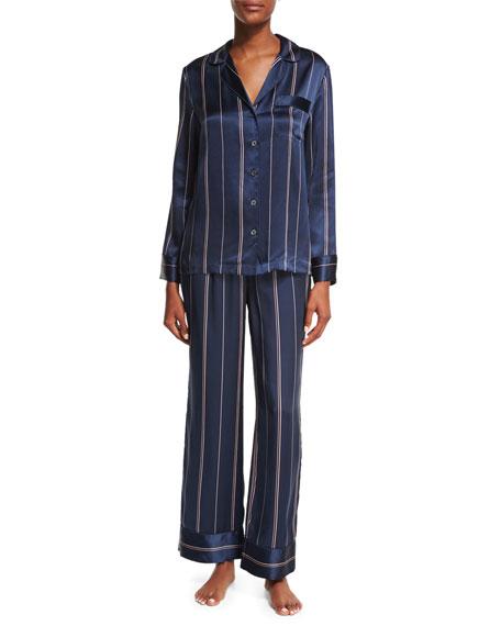 Neiman Marcus Two-Piece Print Silk Pajama Set