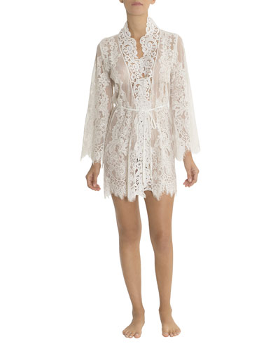 Jasmine Floral-Lace Short Robe