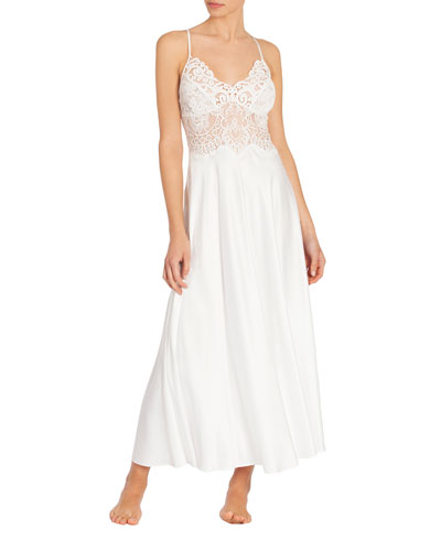 Jasmine Lace-Trim Long Nightgown