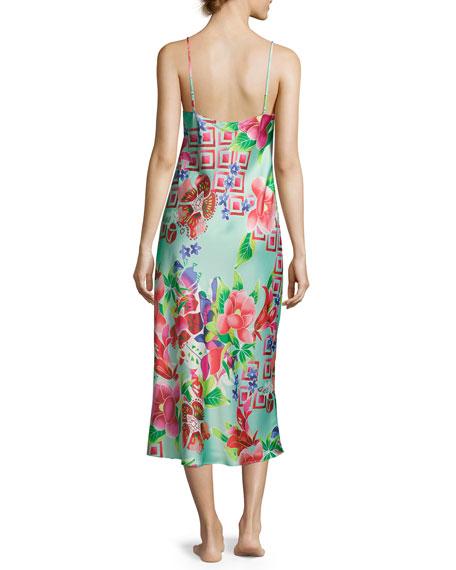 Star Blossom Long Satin Nightgown, Blue Pattern