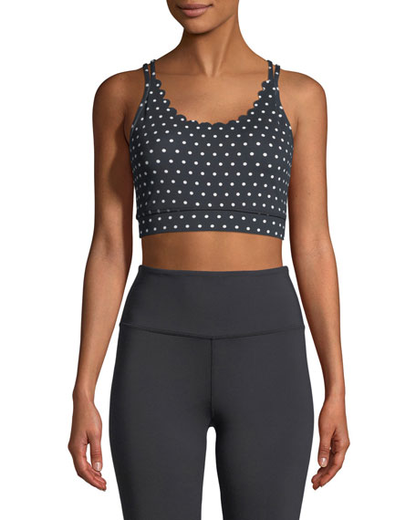 polka-dot scallop sports bra