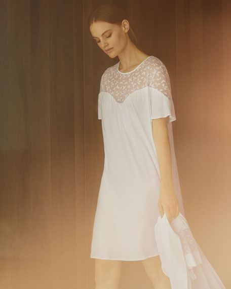 Iris Lace-Yoke Short Nightgown