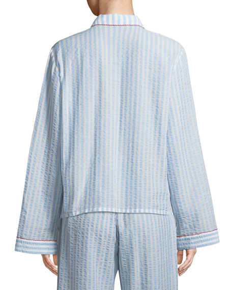 Ruthie Striped Seersucker Pajama Top