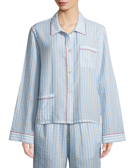 Morgan Lane Ruthie Striped Seersucker Pajama Top