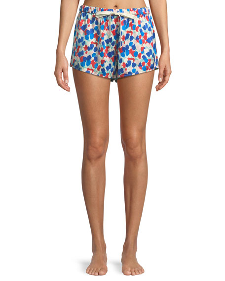 Morgan Lane Martine Painted Tulip Silk Lounge Shorts