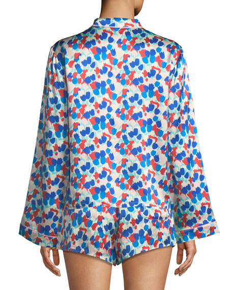 Ruthie Painted Tulip Silk Pajama Top