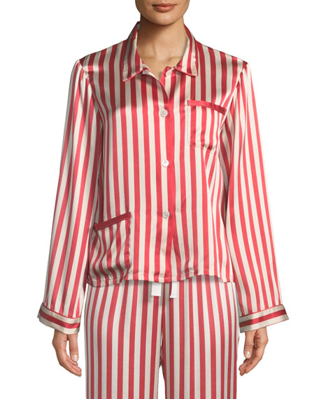 Americana Ruthie Long-Sleeve Striped Silk Pajama Top