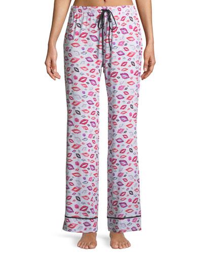 Aubrie Lips-Print Jersey Pajama Pants