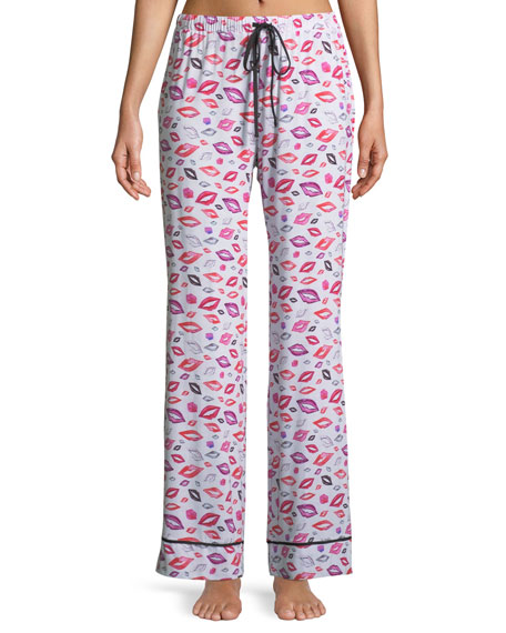 Cosabella Aubrie Lips-Print Jersey Pajama Pants