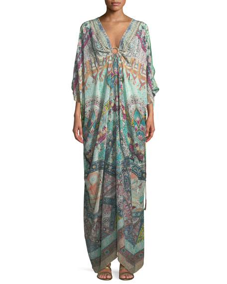 Camilla Plunging Ring Printed Silk Caftan Coverup