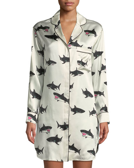 Poppy Calving Shark-Print Silk Sleepshirt