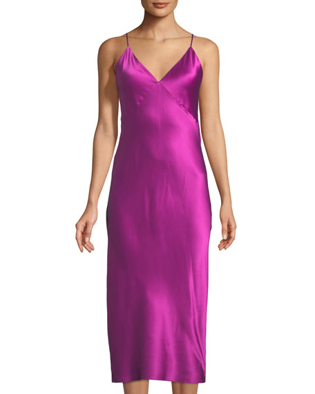 Olivia Von Halle Issa Sleeveless Long Silk Nightgown