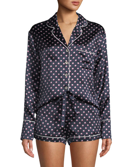 Olivia Von Halle Alba Don Dot-Print Silk Shorty
