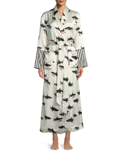 Capability Calvin Shark-Print Long Silk Robe
