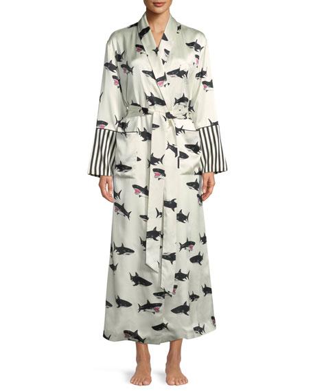 Olivia Von Halle Capability Calvin Shark-Print Long Silk
