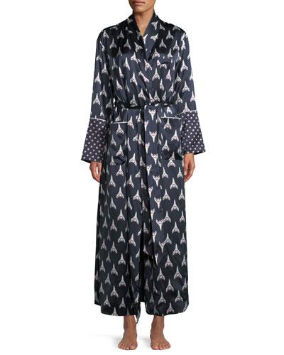 Capability Rocky Print Long Silk Robe