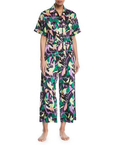 Daria Apollo Graphic-Print Silk Pajama Set
