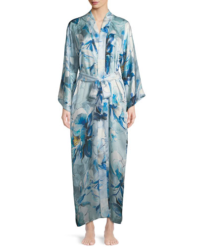 Swept Away Long Silk Robe