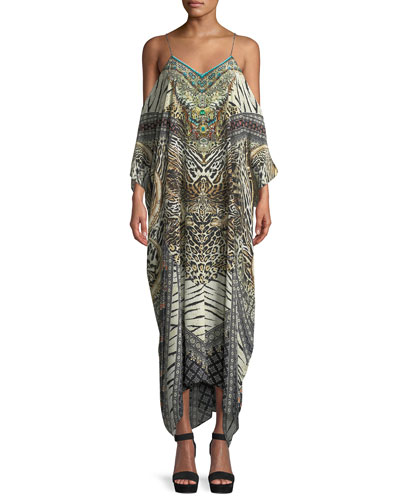 Printed Silk Cold-Shoulder Kaftan Coverup