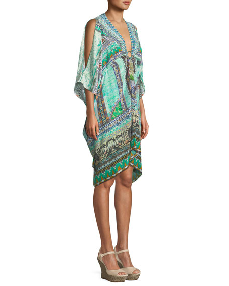Split-Sleeve Embellished Kaftan Coverup, One Size