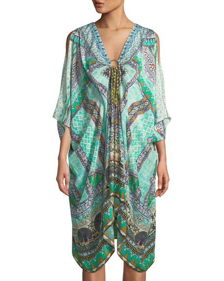 Camilla Split-Sleeve Embellished Kaftan Coverup, One Size