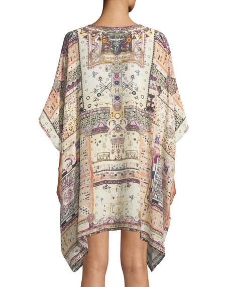 Printed Embellished Silk Caftan