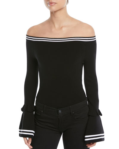 Off-the-Shoulder Long-Sleeve Ruffle Bodysuit