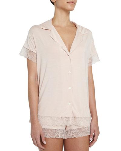 Malou Lace-Trim Short Pajama Set