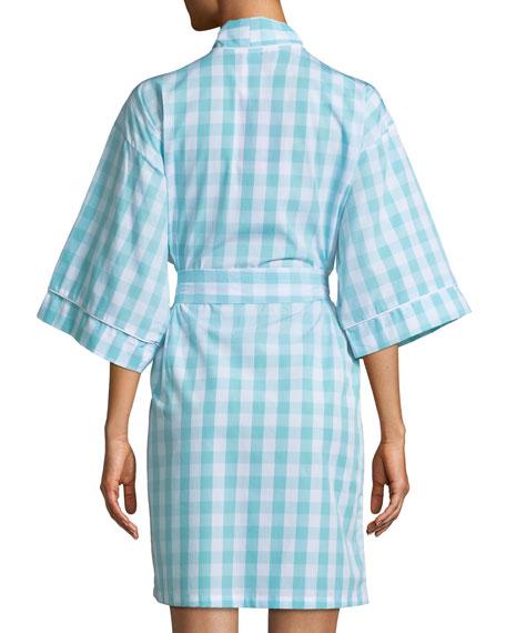 Gingham Short Kimono Robe