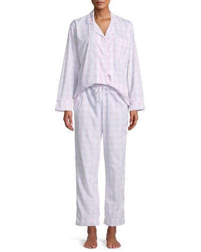 Gingham Classic Pajama Set, Plus Size