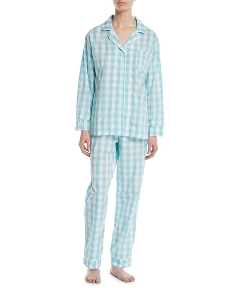 Gingham Long Classic Pajama Set, Plus Size