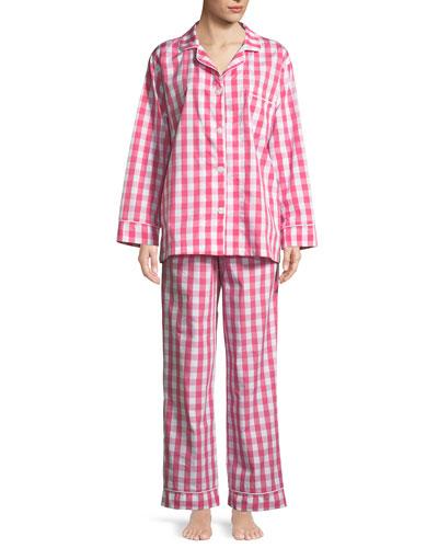 Gingham Classic Long Pajama Set, Plus Size