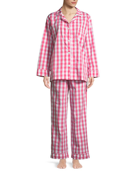 Gingham Classic Long Pajama Set, Plus Size