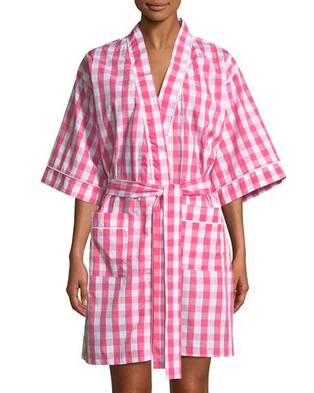 Gingham Cotton Kimono Robe