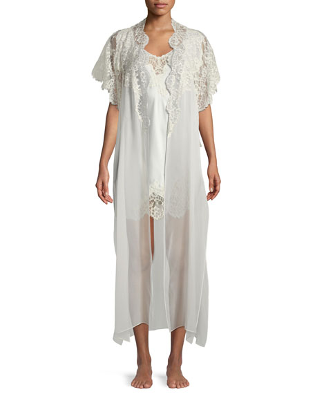 Beloved Lace-Trim Long Silk Robe