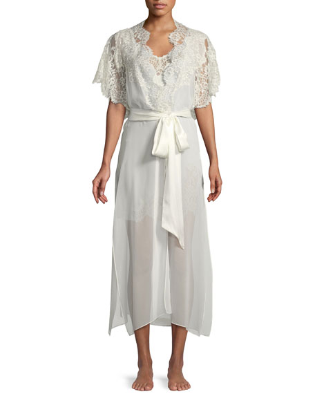 Christine Designs Beloved Lace-Trim Long Silk Robe
