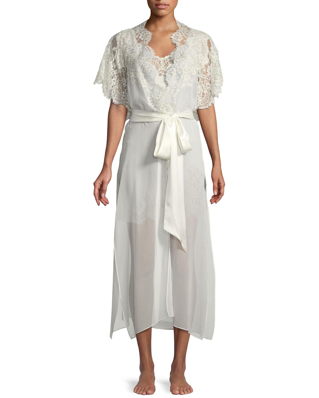 017189e827 Christine Designs Beloved Lace-Trim Long Silk Robe