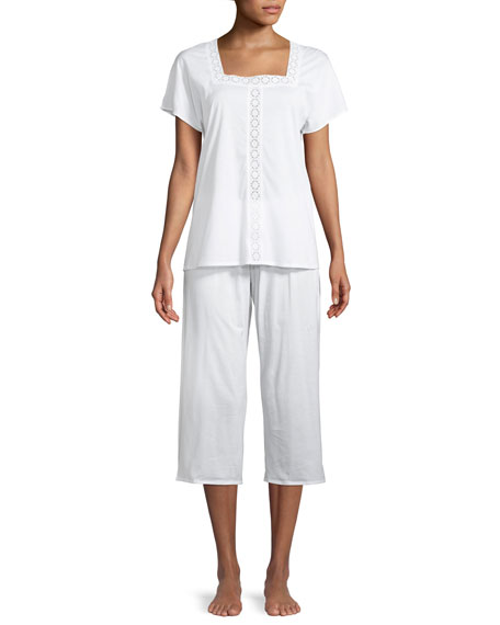 Hazel Eyelet-Inset Crop Pajama Set