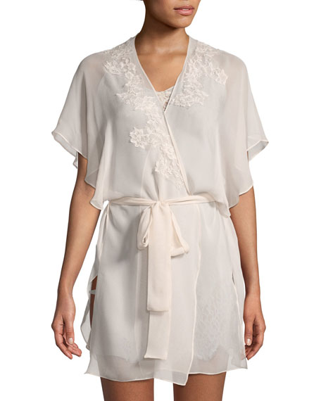 Christine Designs Beloved Lace-Appliqué Chiffon Robe and