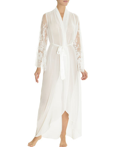 Carina Lace-Trim Chiffon Long Robe