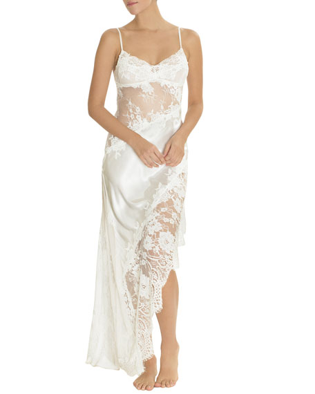 Carina Lace-Inset Satin Nightgown