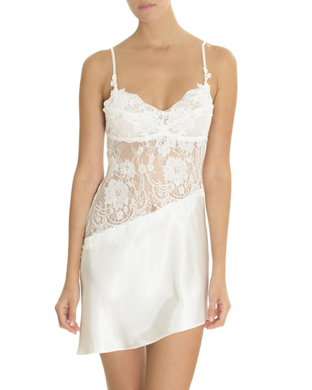 JONQUIL Carina Lace-Inset Satin Chemise in Ivory