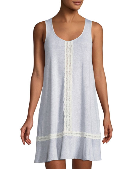 lace-trim sleeveless sleepshirt