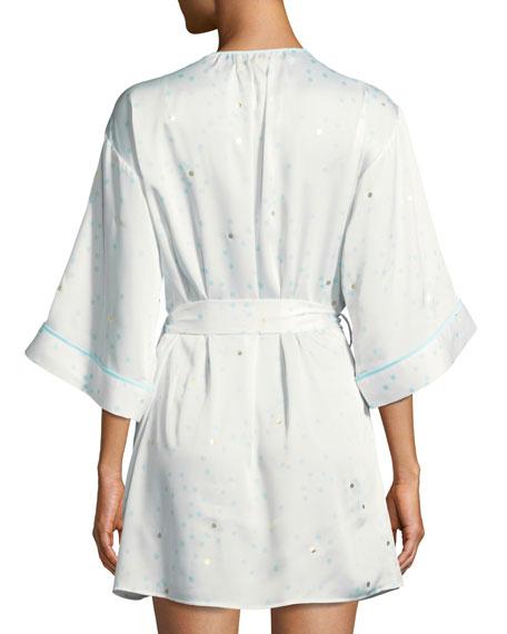 dotted satin bridal robe
