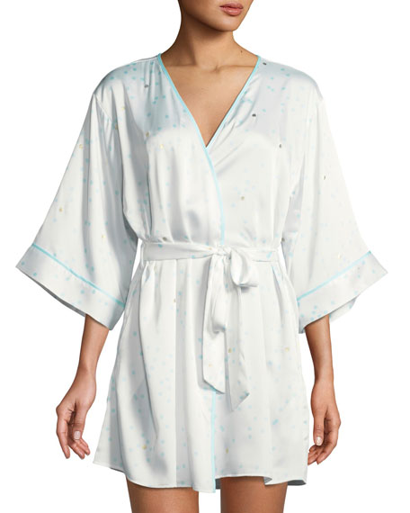 kate spade new york dotted satin bridal robe