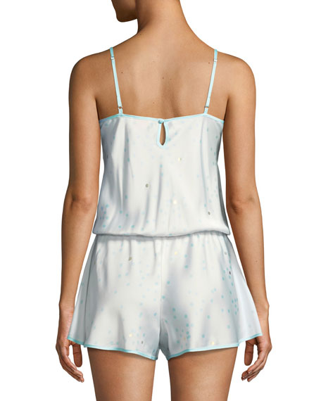 dotted satin bridal romper