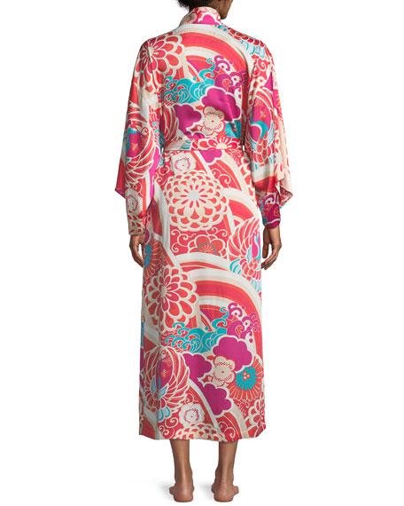 Obi Crane Graphic Satin Robe